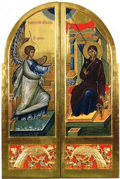 The Royal Doors for the church of St Helena in Saint Petersburg, The model is the classic Annunciation from Ohrid. It just works so well! They were the inspiration for my drawings Mission Icon, Royal Doors, Holy Quotes, Byzantine Icons, St Helena, Madonna And Child, Orthodox Icons, Religious Art, Alter