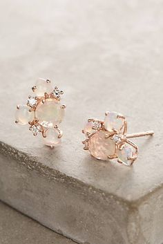 14k Gold Gemstone Cluster Earrings