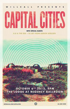 WillCall Presents: Capital Cities / Pop-Up Show #3 // October 6 // The Lodge at The Regency Ballroom // Tickets via the app: http://d.pr/RJt6