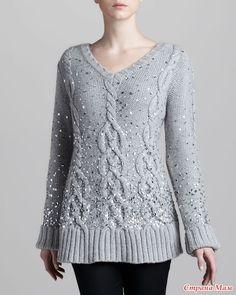 Вяжем свитер от Donna Karan. with full pattern