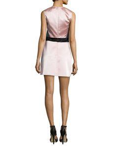 Paneled Sleeveless Party Dress, Charcoal