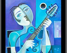 Cubista Resumen pintura Original acrílico arte azul por MarlinaVera