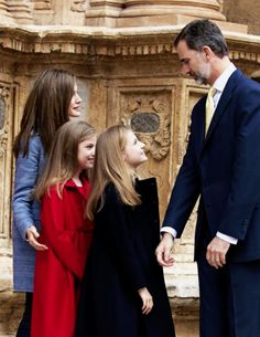 April 16, 2017: King Felipe VI and Queen Letizia of Spain and their two daughters, Princess Leonor and Infanta Sofía, by Queen Sofía to attend the traditional Easter Mass at Catedral-Basílica de Santa María in Palma de Mallorca, Spain.