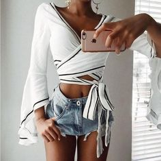 3a1ec5cc7ea Sexy Deep V-Neck Crisscross Long Sleeve Cami Crop Shirt Top Tee
