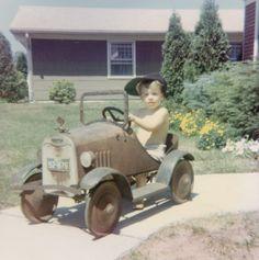 Me in my pedal car circa 1973. Hmmm hood ornament was still attached....