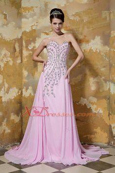 Rose Pink  Beading Prom Dress