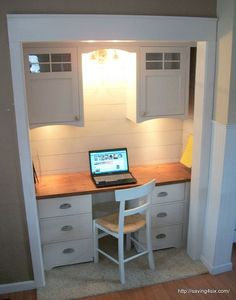 closet turned office reveal, closet, craft rooms, diy, home office, painted furniture, woodworking projects, Craftsman style cabinets were the perfect touch for the wall cabinets and my designed and built them himself