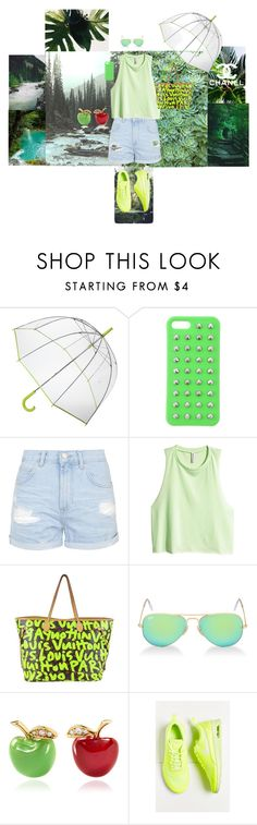 """""""Green"""" by delia-s ❤ liked on Polyvore featuring Prada, Totes, 4WE, Topshop, H&M, Hush, Louis Vuitton, Ray-Ban, Alison Lou and NIKE"""