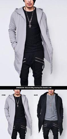Vintage Hem Jersey Hood Jacket-Cardigan 166 - GUYLOOK