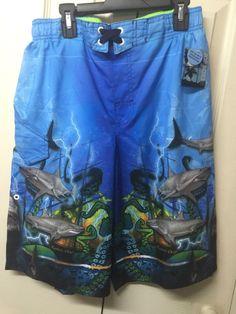 a9409b5100 Details about Boys JOE BOXER Blue Swim Trunks / Board Shorts Size XL  (14-16) Shark Themed Camo