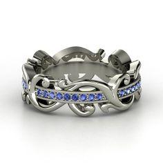 Palladium Ring with Sapphire | Atlantis Eternity Band | Gemvara