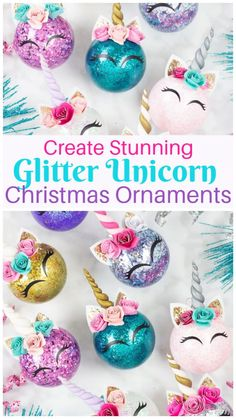 Christmas ornament, personalized unicorn christmas ornament / set of pig christmas - deer christmas, unicorn christmas, rainbow unicorn ornament DIY GLITTER UNICORN ORNAMENTSDIY glitter unicorn ornaments. Find out how you can easily glitter ornaments and Unicorn Christmas Ornament, Unicorn Ornaments, Christmas Ornament Crafts, Holiday Crafts, Christmas Diy, Christmas Glitter, Glitter Ornaments, Christmas Wreaths, Glitter Crafts