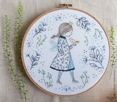 :: Crafty :: Stitch :: Embroidery gift, Fairy princess, Fairy wall art - Winter Fairy - Baby girl embroidery, Hand embroidery kit, Homemade crafts, diy craft kit