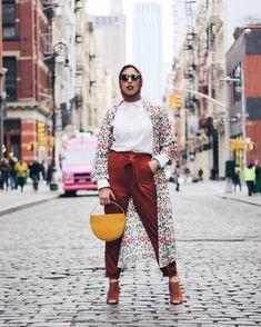 ModCloth x Haute Hijab (@hautehijab) in our Compania Fantastica Positivity, Pronto Floral Kimono and the Back in a Sash Pants in Rust