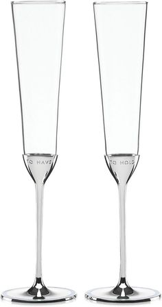 """Celebrate your special day with these elegant kate spade new york Take the Cake Toasting Flutes. Each flute features a silver-plated base that is charmingly engraved: """"To Have"""" on one and """"To Hold"""" on the other. Wedding Champagne Flutes, Champagne Glasses, We Take The Cake, Kate Spade, Cake Knife, Toasting Flutes, Wedding Toasts, Newlywed Gifts, Chic Wedding"""