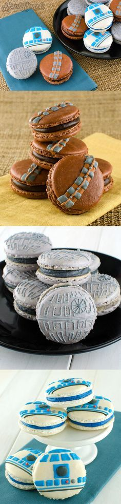 STAR WARS Themed Macarons Look Delicious These are definitely the macarons I've been looking for! Semi Sweet Designs created these fantastic Star Wars themed macarons that are a must eat… Thanks a lot, Internet! by Greek Tyrant Star Wars Party, Theme Star Wars, Star Wars Wedding, Star Wars Birthday, Geek Wedding, Trendy Wedding, Bolo Star Wars, Star Wars Bb8, Star Wars Food