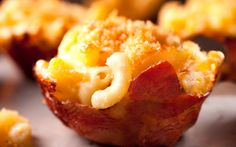 This Prosciutto-Wrapped Macaroni and Cheese Cup recipe is baked inside individual crispy prosciutto cups for the perfect party snack.