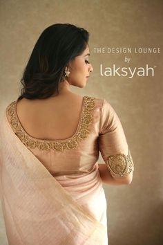Ic and creative clothing by laksyah a fashion label by actress kavya madhavan Blouse Back Neck Designs, Simple Blouse Designs, Stylish Blouse Design, Wedding Saree Blouse Designs, Pattu Saree Blouse Designs, Blouse Designs Silk, Blouse Patterns, Saris, Blouse Designs Catalogue