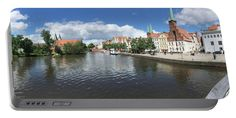 Embankment Of Trave In Luebeck Portable Battery Charger by Marina Usmanskaya for home decor.   Medium (5200 mAh) The ancient Hanseatic city Luebeck in the north of Germany from the bridge of Love on the Trave.