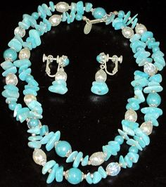 Miriam Haskell Turquoise Blue Glass Pearl Necklace Earring Set | eBay