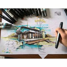 sketch,sketchy-By our dear master:hadi_jvn Architecture Drawing Sketchbooks, Architecture Concept Drawings, Watercolor Architecture, Architecture Magazines, Art And Architecture, Interior Design Sketches, Illustration, Marker, Architectural Sketches