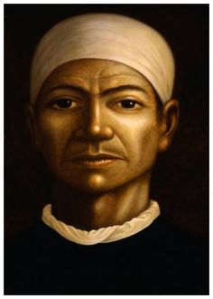 'Man With Headscarf' oils on canvas painted by George Underwood