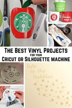 The Best Vinyl Projects for Cricut and Silhouette crafting. Check out htis list of adhesive vinyl projects that are easy and simple to recreate or be inspired by. Silhouette Vinyl Projects, Diy Vinyl Projects, Easy Craft Projects, Craft Tutorials, Diy Crafts For Kids, Fun Crafts, Do It Yourself Crafts, Project Yourself, Crafty Craft