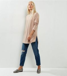 Light Brown Brushed Funnel Neck Split Side Tunic  | New Look