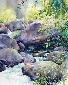 River's Edge, Julie Gilbert Pollard watercolor painting 20 x 16 inches Watercolor Artists, Watercolor Techniques, Guache, Wow Art, Beautiful Paintings, Landscape Art, Chinese Landscape, Painting Inspiration, Painting & Drawing