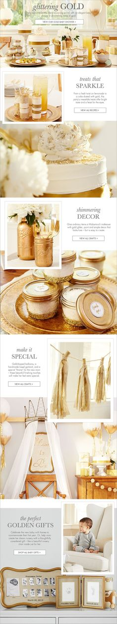 Gold Baby Shower   Pottery Barn Kids (A GOLD BABY SHOWER) Nice!!