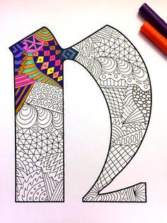 Letter N Zentangle  Inspired by the font Deutsch Gothic by DJPenscript