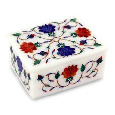 Orange and Blue Floral Marble Inlay Jewelry Box - Dahlia Secrets | NOVICA