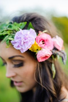 Pastel and bold hued floral crown.   Photography: Rebecca Anne Photography - www.rebeccaannephotography.com Photography: Jenny Ostenson Photography - www.jennyostensonphotography.com Photography: Kerry Jeanne Photography - www.kerryjeannephotography.com