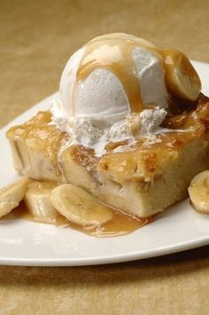 Disney Banana Bread Pudding With Banana Foster Topping - a guest favorite!