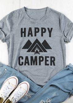 49bb1797 Happy Camper T-Shirt - Fairyseason Camping Outfits For Women Summer, Women  Camping,