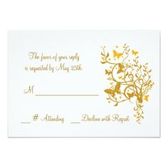 Gold Butterfly Wedding RSVP Card