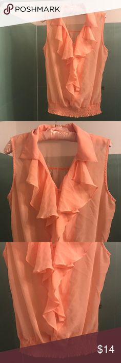 Mine collared ruffle blouse 100% polyester mine Tops Blouses