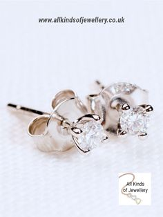 Solitaire Diamond Earrings - All Kinds of Jewellery Diamond Solitaire Earrings, Diamond Stud, Engraved Plates, Buy Jewellery Online, Most Beautiful, Diamonds, White Gold, Stud Earrings, Stone
