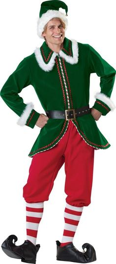 Men Christmas Elf Costume Santa Jacket Pants Holiday Cosplay Outfit Xmas  Gift Costume Santa 9652da616746