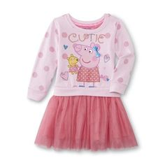 """Girls Peppa Pig """"Cutie"""" Dress New with Tags Size 5T Long Sleeves!! Great Gift!! #BirthdayDressyEveryday"""