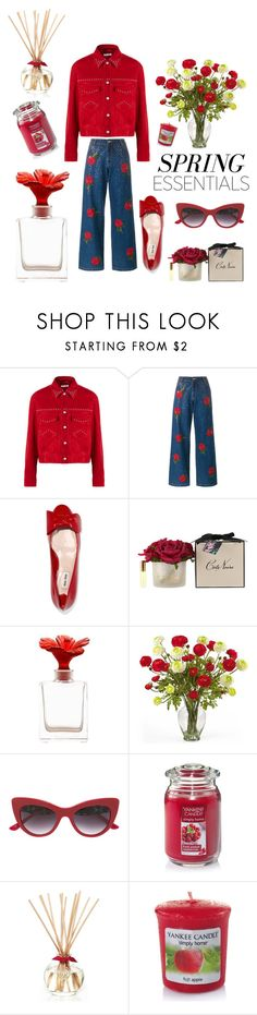 """The smell of SPRING"" by kotnourka ❤ liked on Polyvore featuring beauty, Miu Miu, Ashish, Daum, Nearly Natural, Dolce&Gabbana and Yankee Candle"
