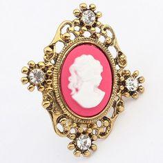Chic Rhinestone Portrait Ring For Women