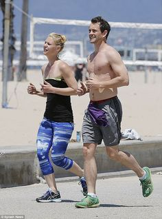 Keep on smiling: Claire Danes appeared to be struggling to keep up with her shirtless husb...