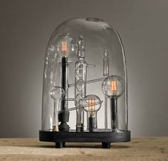Restoration Hardware medium chemistry cloche/Neo Victorian/steampunk décor ideas