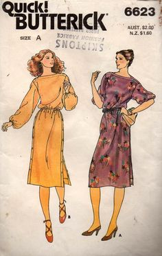 e9a625489f5c Butterick 6623 Womens Button Trimmed Bateau Neck Dress 80s Vintage Sewing  Pattern Size 8 10 12 UNCUT Factory Folds