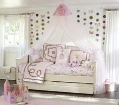 Madeline Daybed and Trundle- Pottery barn kids Kids Daybed, Kids Bed Canopy, Daybed With Trundle, Pottery Barn Kids, Canopy Bed Curtains, Bed Canopies, Tulle Canopy, Canopy Bedroom, Girls Bedroom