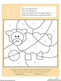 hidden color by letter printables - Color By Letter Printables
