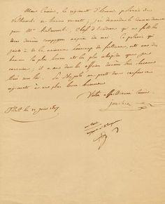 """in-4, 1 p., entièrement de la main de Murat, de Tilsit le 22 juin 1807, signée """"Votre affectionné Cousin. Joachim"""", adressée à """"Mon Cousin..."""" (Alexandre Berthier, Ministre de la Guerre) : """"le régiment d'hussards polonais de Sulkowski se trouve vacant, j'en demande le commandemant pour M. Kalinowski, chef d'escadron [...] un des hommes les plus braves et les plus intrépides que je connaisse [...]. S Majesté ne peut donc confier ce régiment à un plus brave homme"""". En dessous, note manuscrite…"""