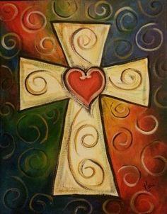 Ideas Canvas Art Ideas Christian Cross Paintings For 2019 Cross Canvas Paintings, Easy Canvas Painting, Heart Painting, Autumn Painting, Diy Painting, Painting & Drawing, Canvas Art, Scripture Painting, Painted Canvas