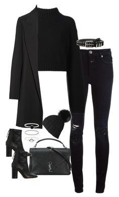 """""""Untitled #775"""" by dearestdana ❤ liked on Polyvore featuring Closed, Yves Saint Laurent, DKNY, The Row, Black, Accessorize, The Kooples and Isabel Marant"""